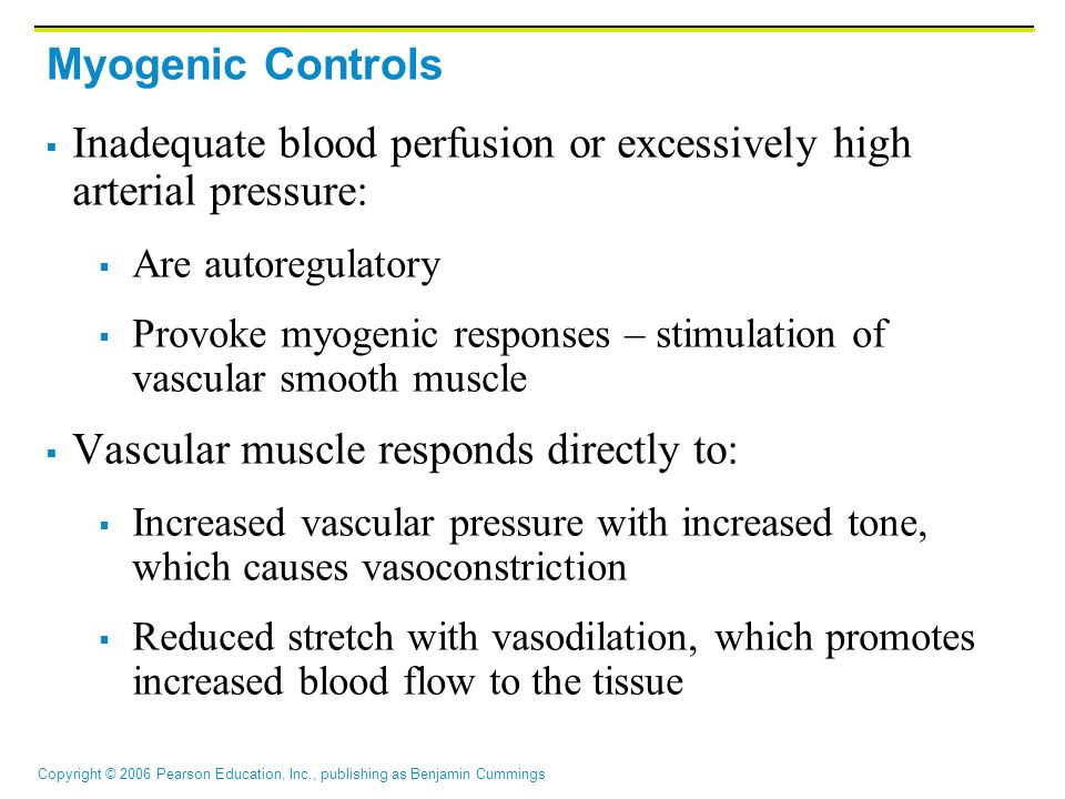 Inadequate blood perfusion or excessively high arterial pressure: