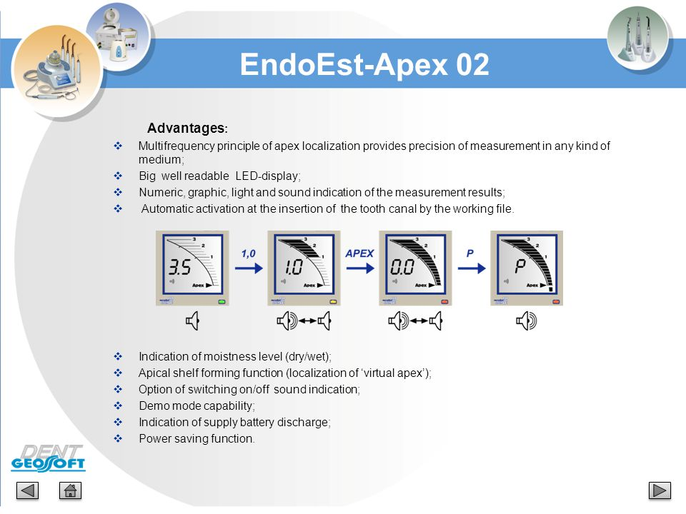 EndoEst-Apex 02 Advantages: