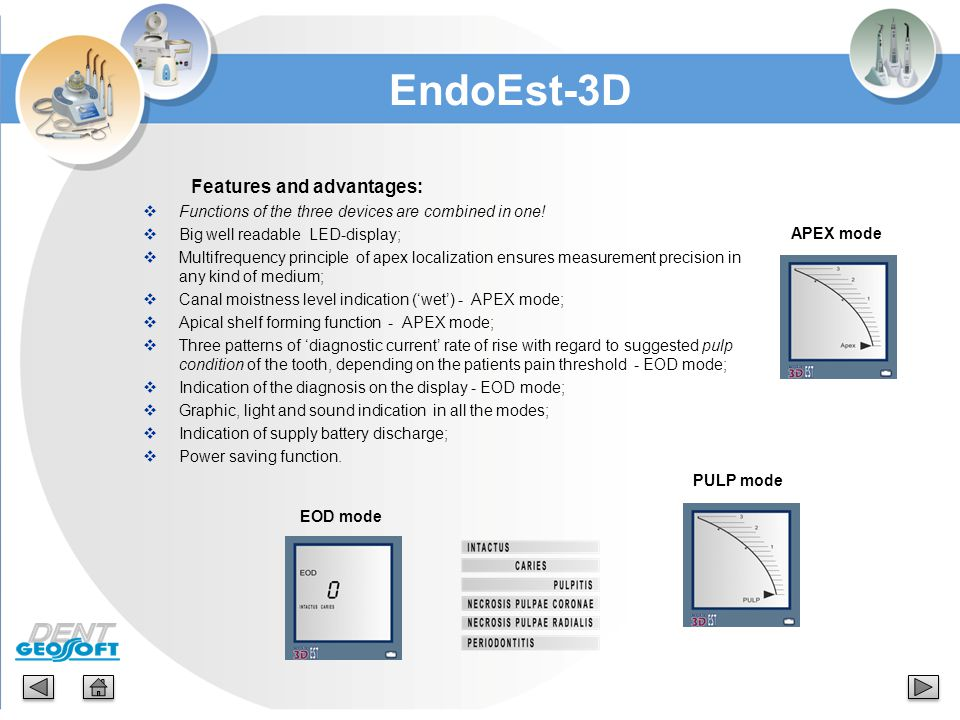 EndoEst-3D Features and advantages: