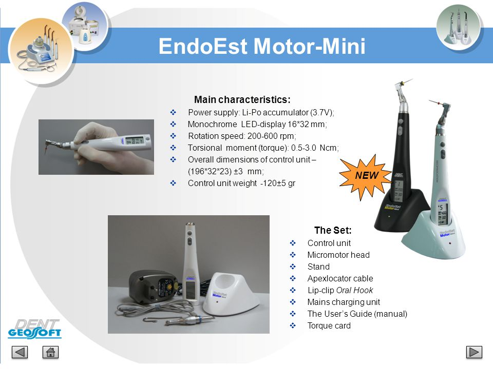 EndoEst Motor-Mini Main characteristics: NEW The Set:
