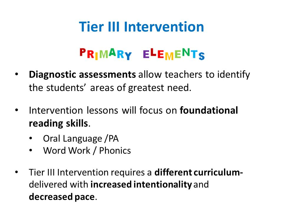 Tier III Intervention Diagnostic assessments allow teachers to identify the students' areas of greatest need.