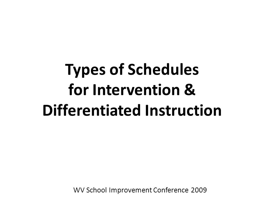 Types of Schedules for Intervention & Differentiated Instruction