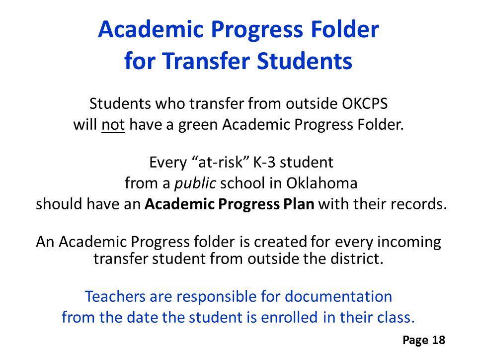Academic Progress Folder for Transfer Students