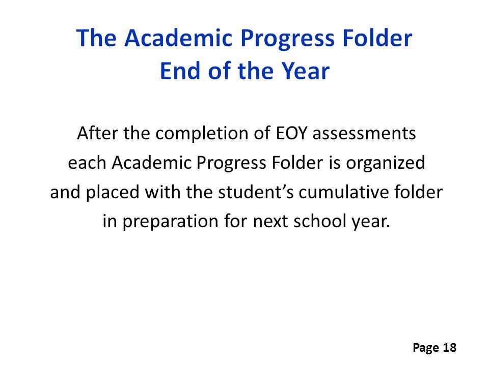 The Academic Progress Folder