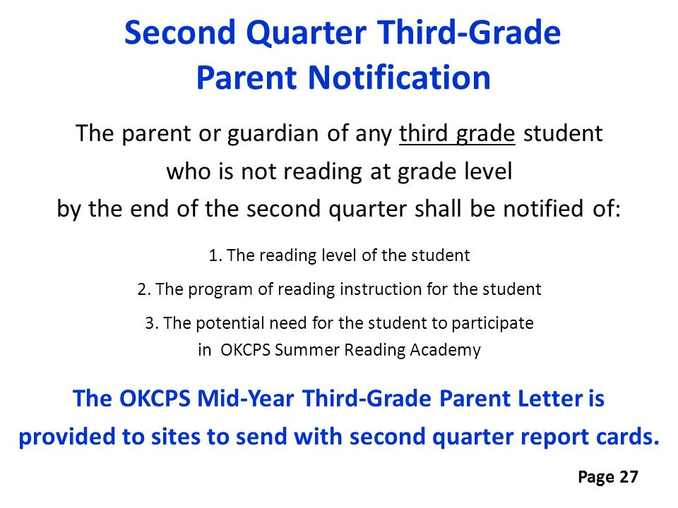 Second Quarter Third-Grade Parent Notification