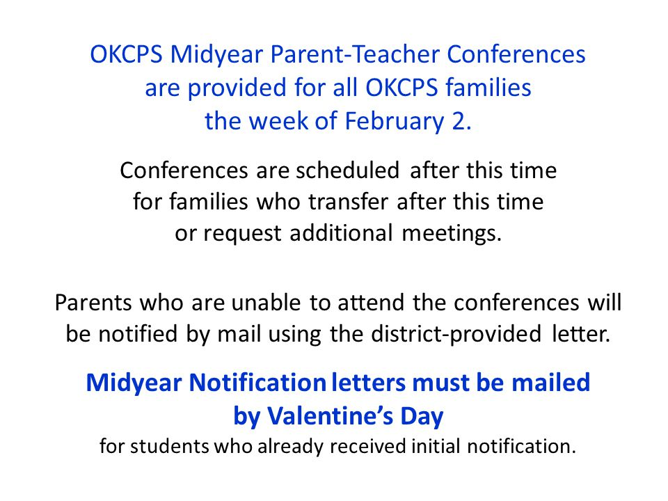 Midyear Notification letters must be mailed