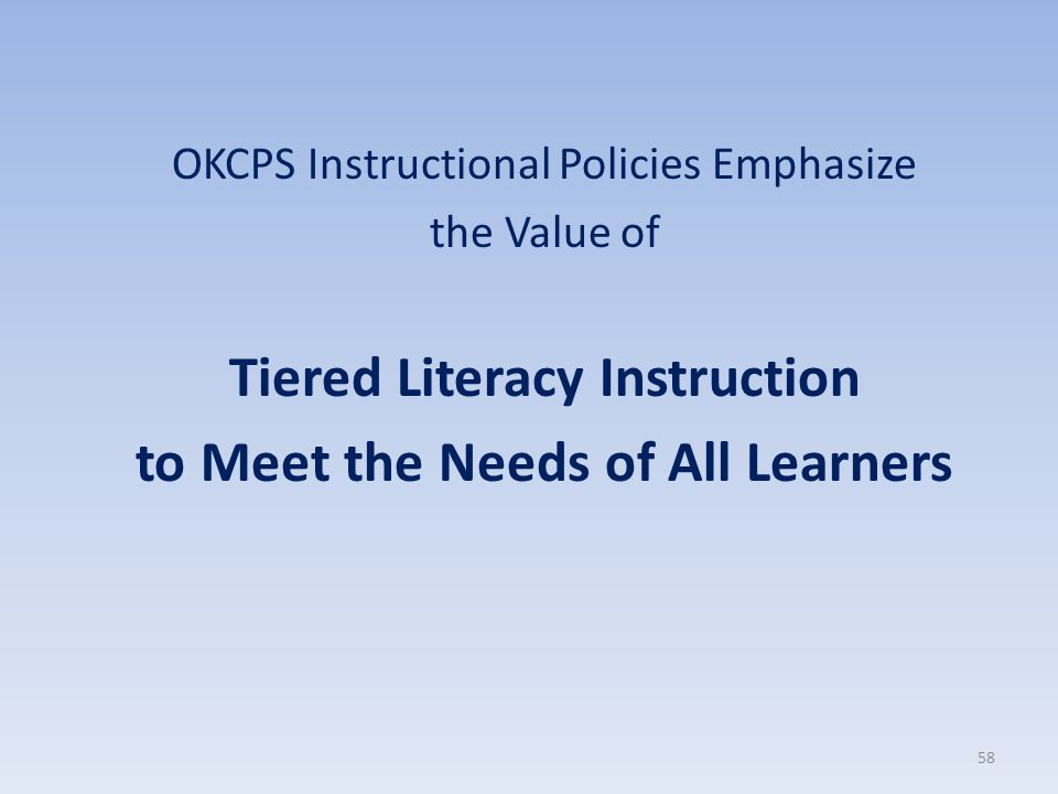 Tiered Literacy Instruction to Meet the Needs of All Learners