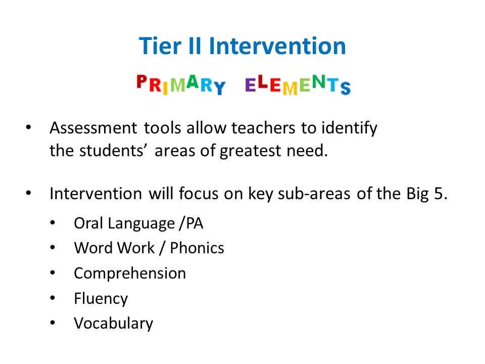 Tier II Intervention Assessment tools allow teachers to identify the students' areas of greatest need.