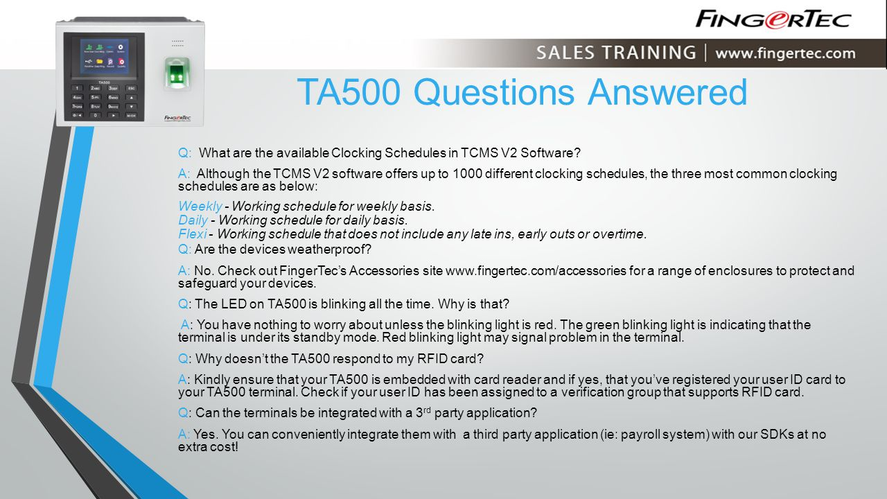 TA500 Questions Answered