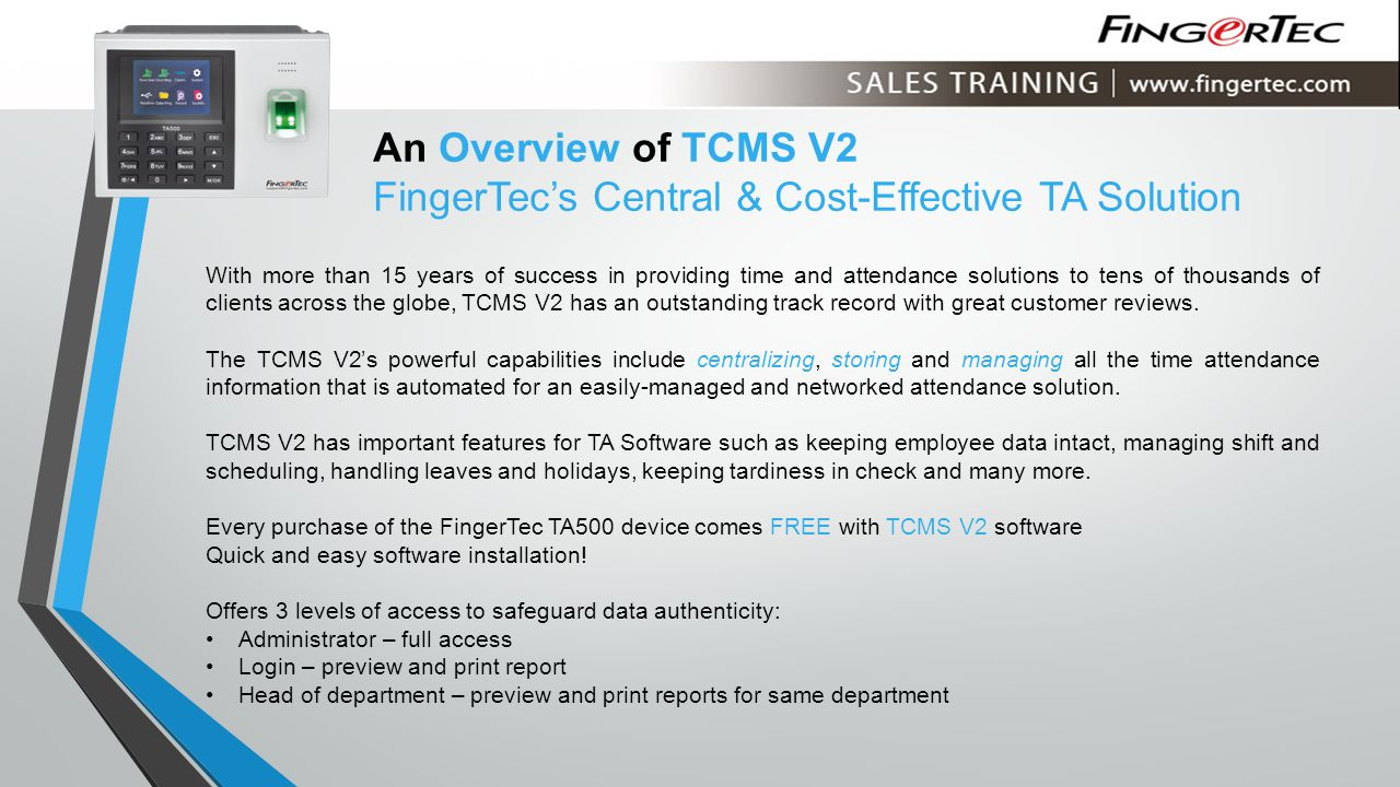 An Overview of TCMS V2 FingerTec's Central & Cost-Effective TA Solution