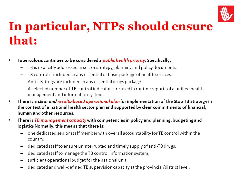 In particular, NTPs should ensure that: