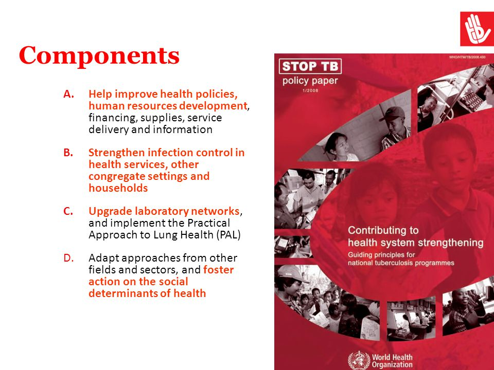 Components Help improve health policies, human resources development, financing, supplies, service delivery and information.