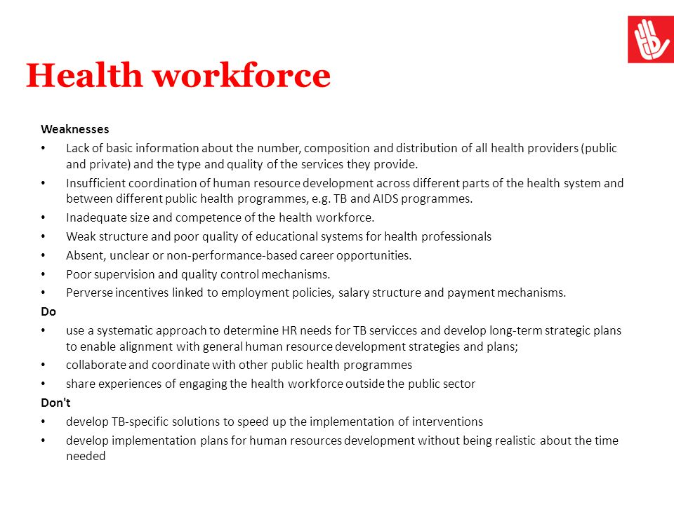 Health workforce Weaknesses