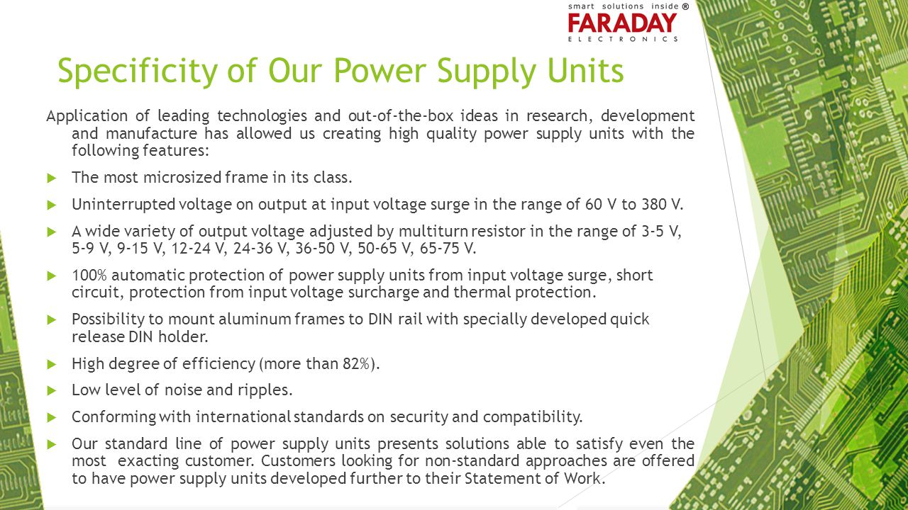 Specificity of Our Power Supply Units