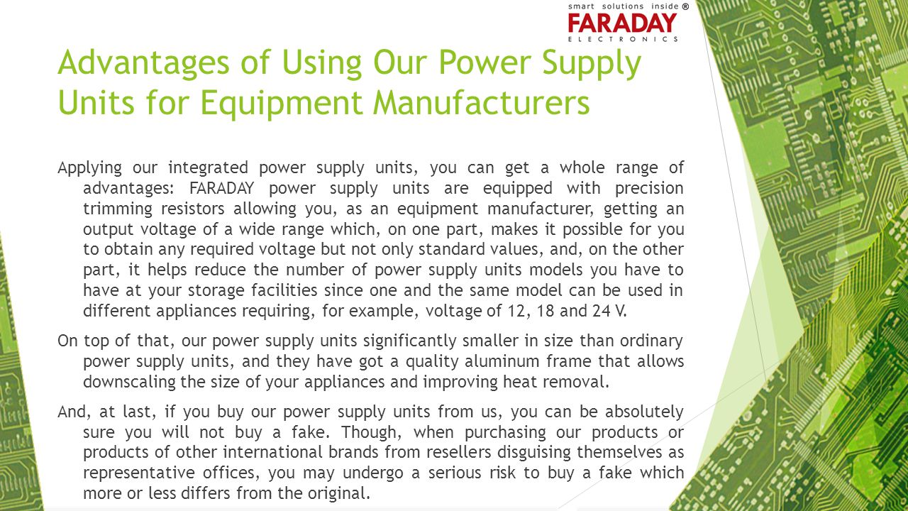 Advantages of Using Our Power Supply Units for Equipment Manufacturers
