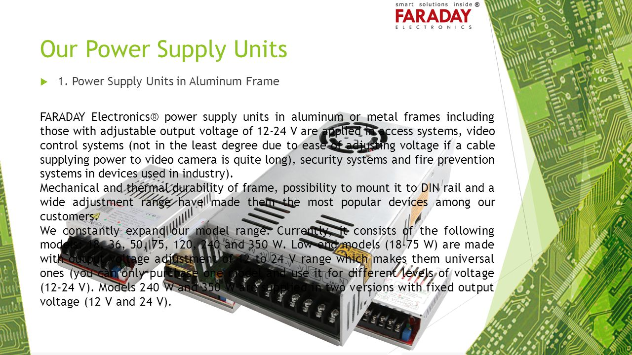 Our Power Supply Units 1. Power Supply Units in Aluminum Frame