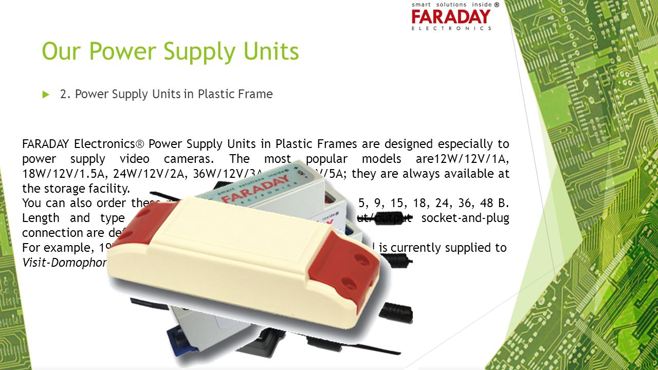 Our Power Supply Units 2. Power Supply Units in Plastic Frame