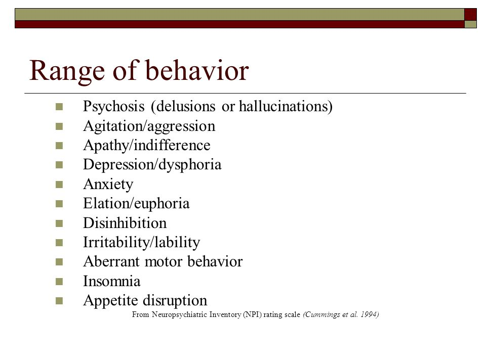 Range of behavior Psychosis (delusions or hallucinations)