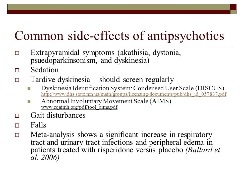 Common side-effects of antipsychotics