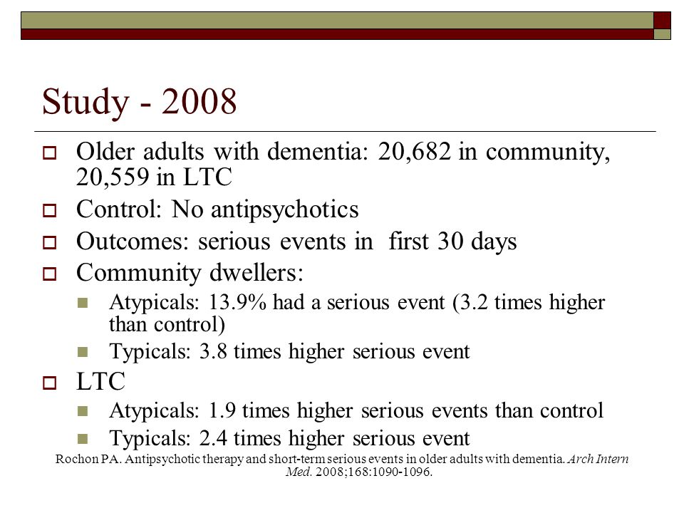 Study - 2008 Older adults with dementia: 20,682 in community, 20,559 in LTC. Control: No antipsychotics.
