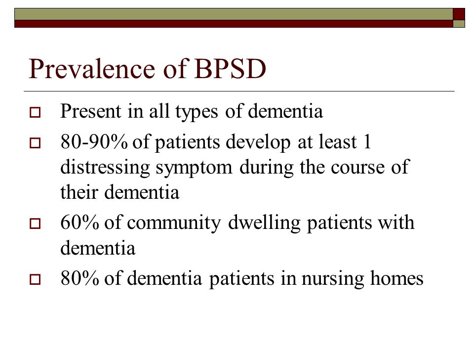 Prevalence of BPSD Present in all types of dementia