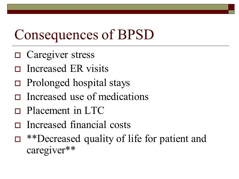 Consequences of BPSD Caregiver stress Increased ER visits