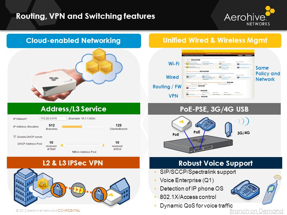 Routing, VPN and Switching features