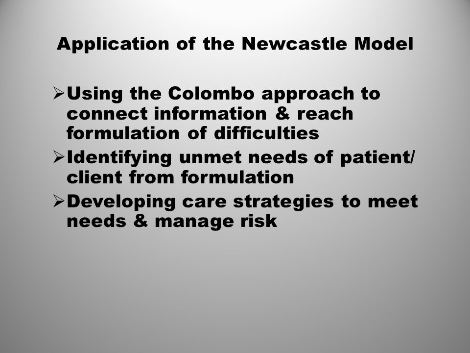 Application of the Newcastle Model