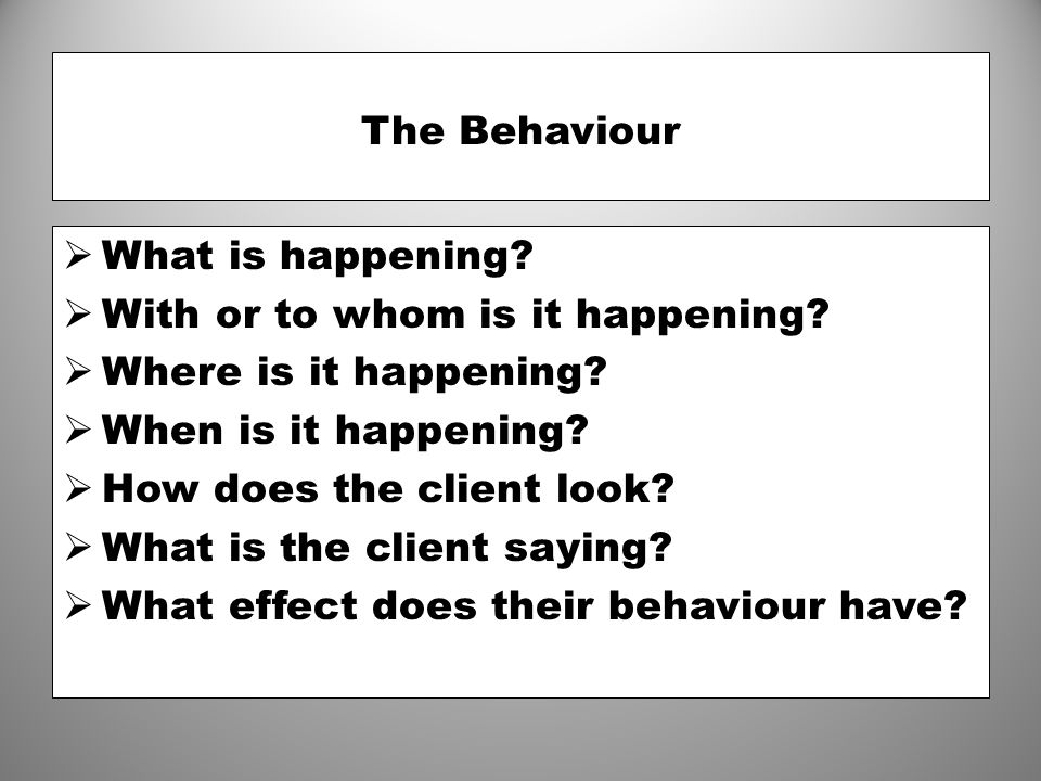 The Behaviour What is happening With or to whom is it happening Where is it happening When is it happening