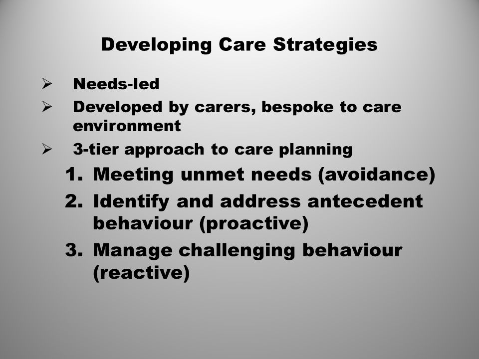 Developing Care Strategies
