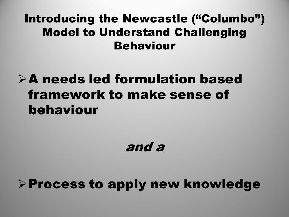 A needs led formulation based framework to make sense of behaviour