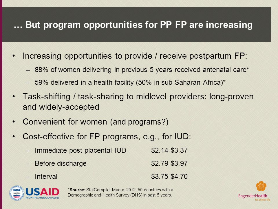 … But program opportunities for PP FP are increasing