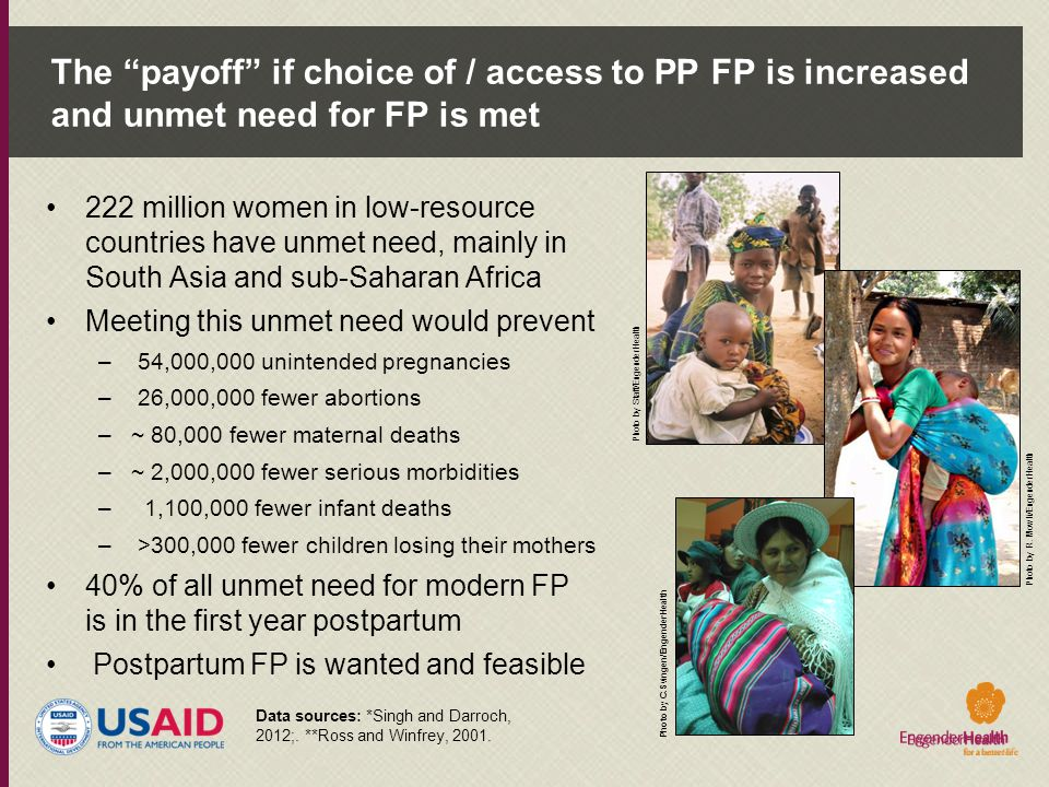 The payoff if choice of / access to PP FP is increased and unmet need for FP is met
