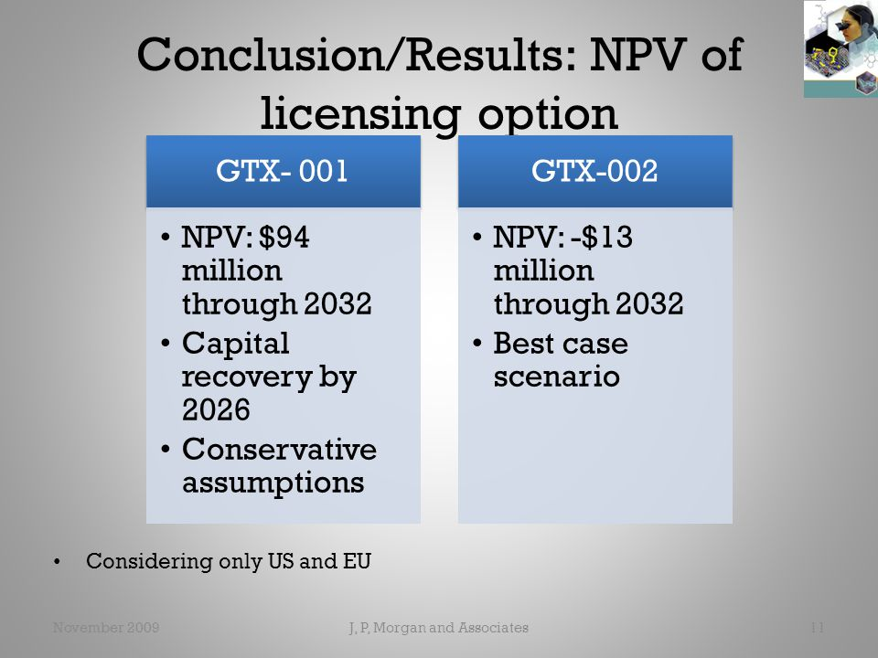 Conclusion/Results: NPV of licensing option