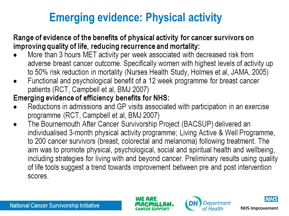 Emerging evidence: Physical activity