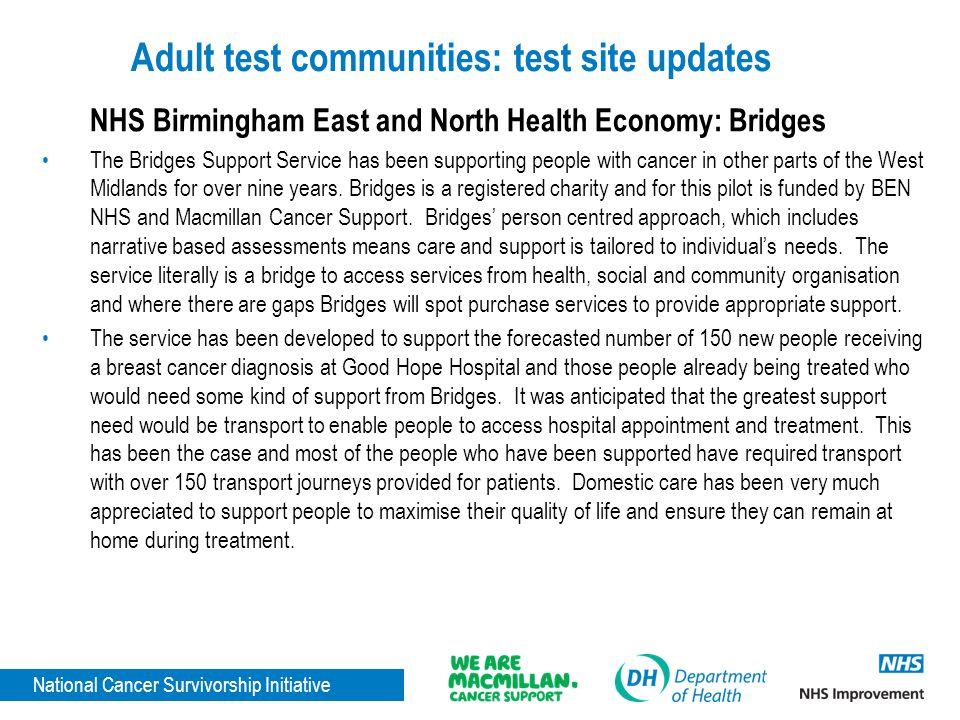 Adult test communities: test site updates