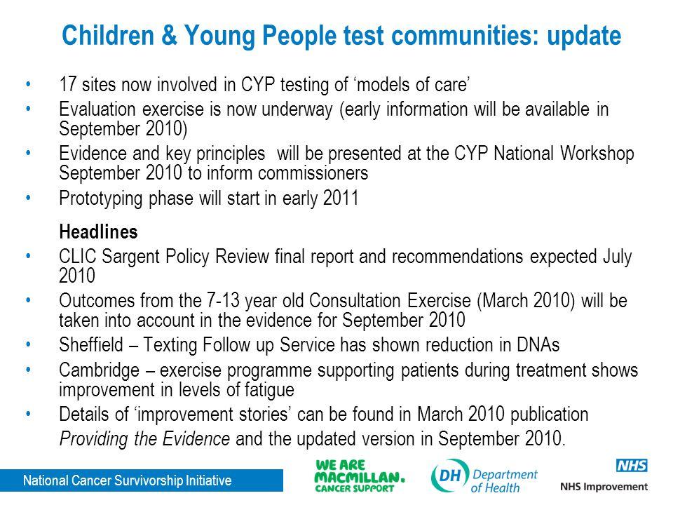 Children & Young People test communities: update