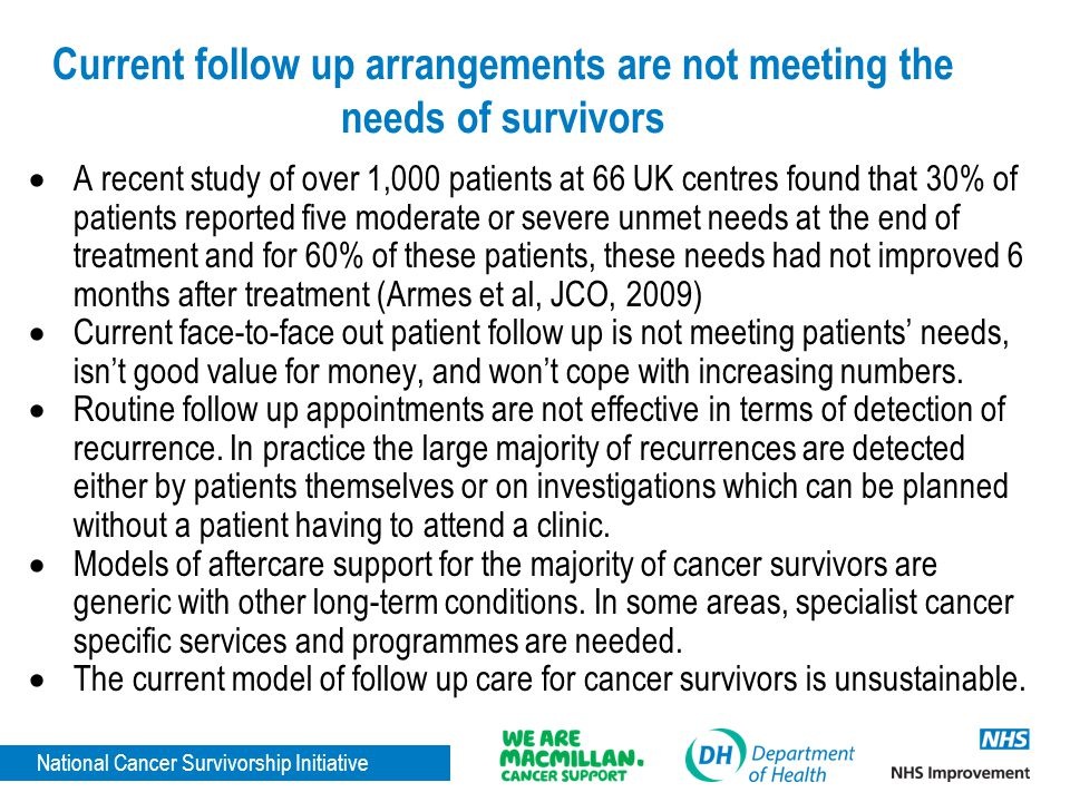 Current follow up arrangements are not meeting the needs of survivors