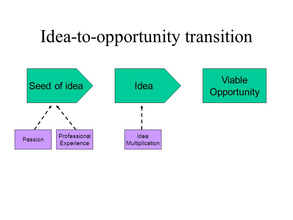 Idea-to-opportunity transition