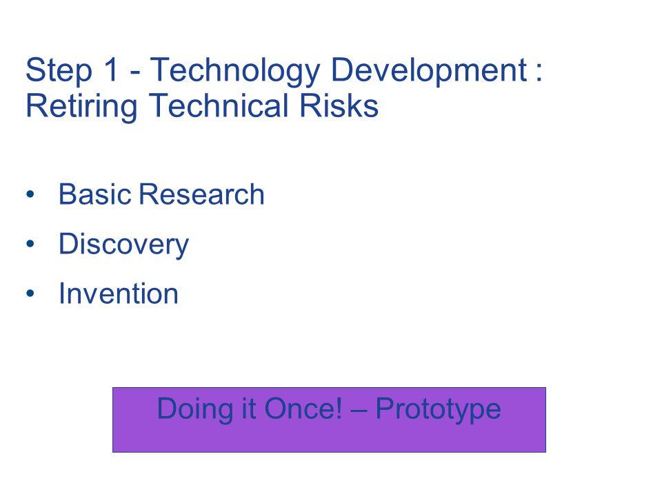 Step 1 - Technology Development : Retiring Technical Risks