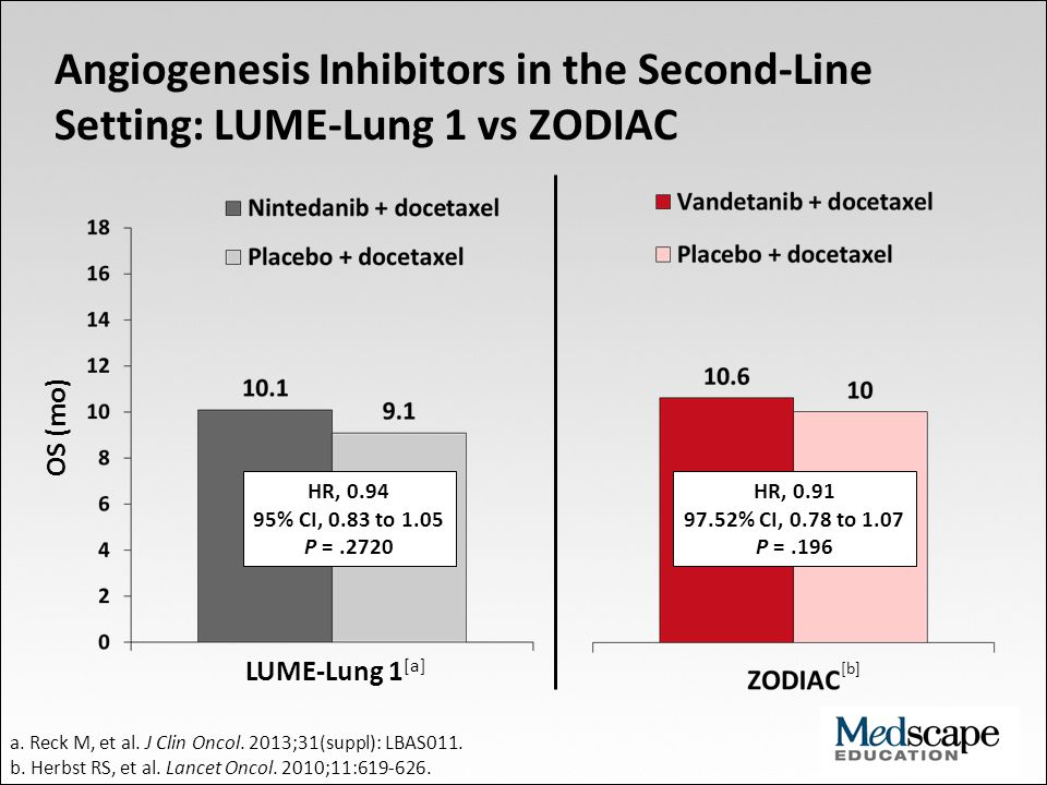 Angiogenesis Inhibitors in the Second-Line Setting: LUME-Lung 1 vs ZODIAC