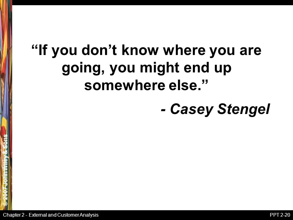 If you don't know where you are going, you might end up somewhere else.