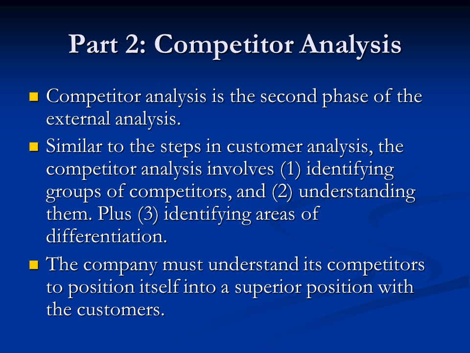 Part 2: Competitor Analysis