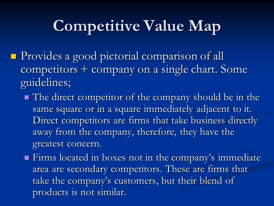 Competitive Value Map Provides a good pictorial comparison of all competitors + company on a single chart. Some guidelines;