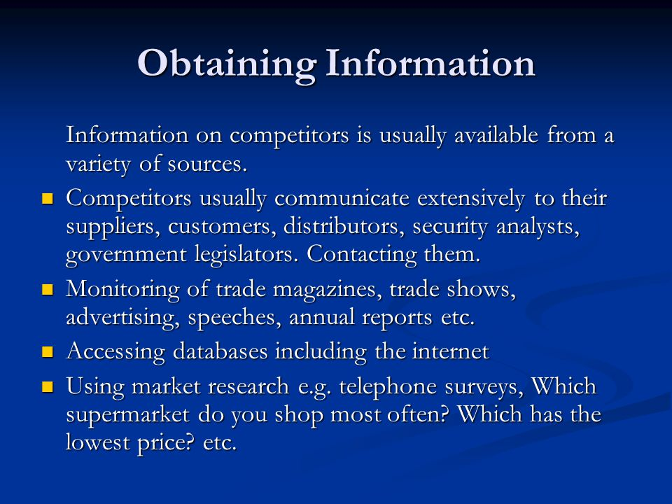 Obtaining Information