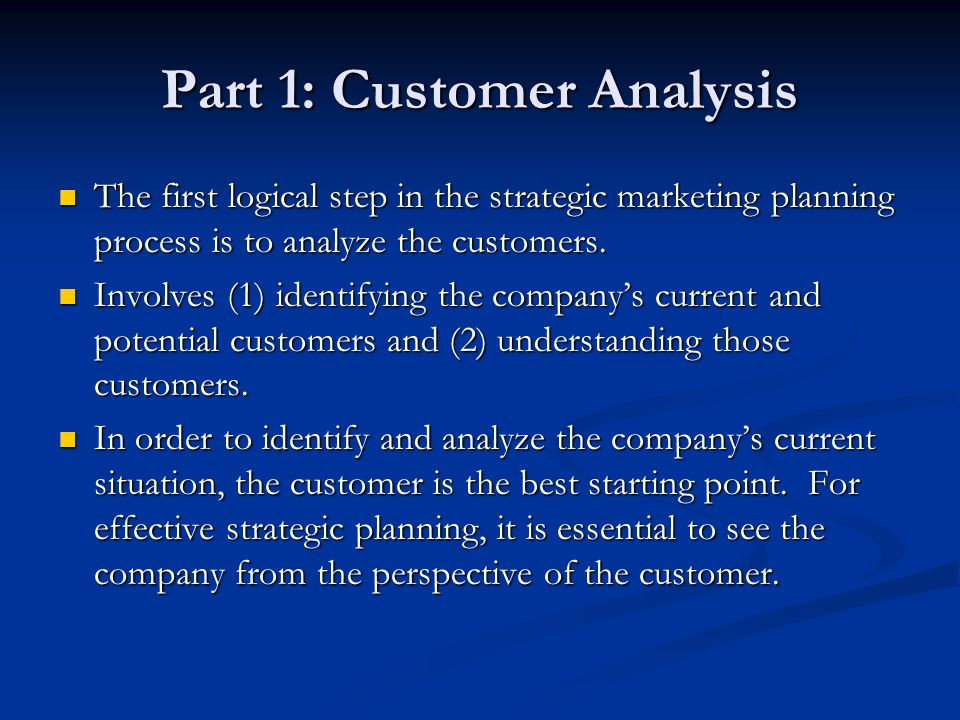 Part 1: Customer Analysis