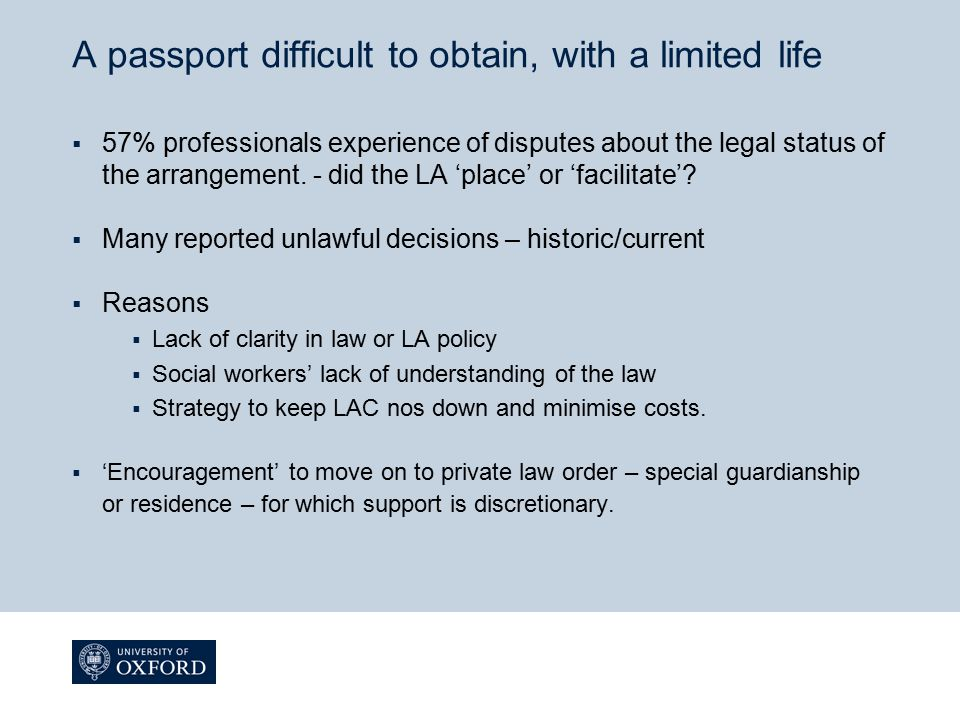 A passport difficult to obtain, with a limited life