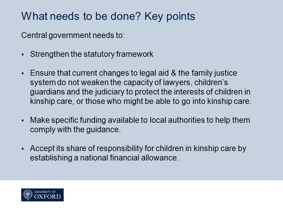 What needs to be done Key points