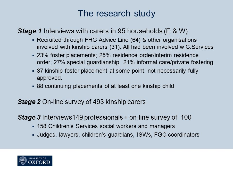 The research study Stage 1 Interviews with carers in 95 households (E & W)