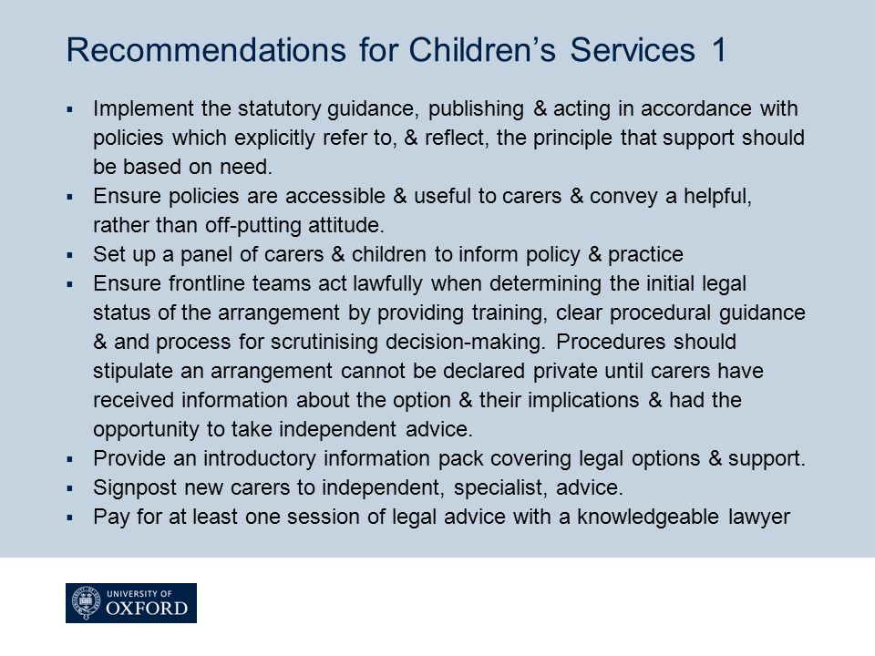 Recommendations for Children's Services 1